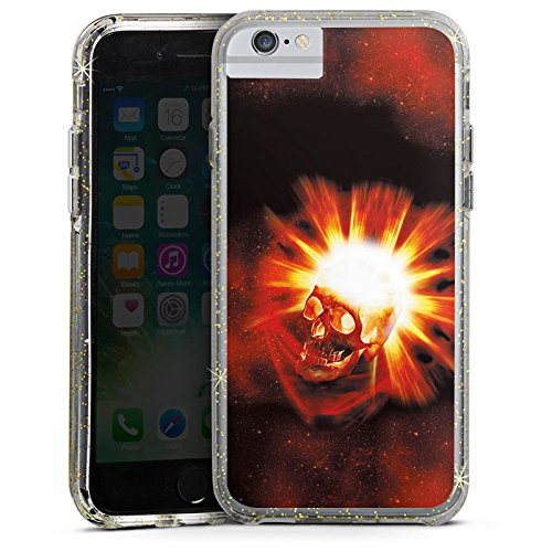 Apple iPhone X Bumper Hülle Bumper Case Glitzer Hülle Totenkopf Skull Schädel Bumper Case Glitzer gold