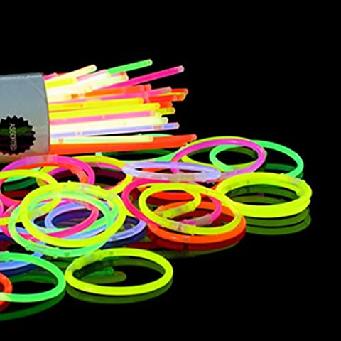 50 - 200mm x 5mm mixed colour glow stick bracelet 7 colours