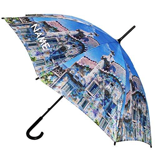 """großer XL Regenschirm - """" Stadt / Gebäude mit Blumen - Architektur """" - incl. Name - ø 110 cm - Schirm - Stockschirm für - Damen - Herren / Erwachsene - Frauen / Partnerschirm - groß / sturmfest - einfarbige blaue - Regenschirme"""