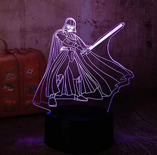 Christmas Night Light 3D Rgb Led Night Light Cool Darth Vader 7 Color Chang Sleep Lámpara De Mesa Decoración...