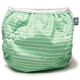 Beau & Belle Littles nageuret wiederverwendbare & verstellbare Schwimmwindel 6 - 36 Pfund Grüne Streifen