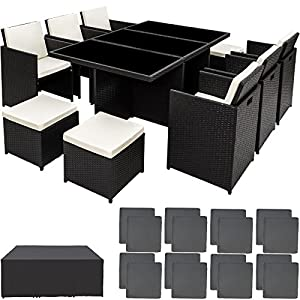 TecTake Poly Rattan Aluminium Gartengarnitur Sitzgruppe 6+1+4, Edelstahlschrauben - Diverse Farben - (Schwarz | Nr. 401454)