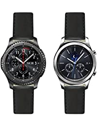 De alta calidad con costuras de piel italiana: negro de repuesto correa de reloj para Samsung Gear S3frontera–Classic. Fabricado en Francia
