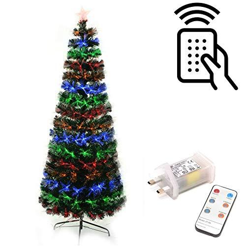 Gifts 4 All Occasions Limited SHATCHI-1194 Shatchi - Mando a distancia para árbol de Navidad (fibra óptica, 60 cm), diseño de árbol de Navidad, color verde