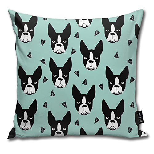 Boston Terrier Mint Funny Square Pillow Cases Cushion Cover for Bedroom Living Room Decorative 18
