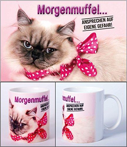 Witziger Henkelbecher, Kaffeetasse mit Motiv lustige Katze 'Morgenmuffel! Ansprechen auf eigene...