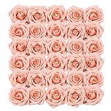Homcomoda Fleurs Artificielles Rose Rose 30pcs Vrai Recherche Faux Roses avec Tige de Mariage DIY Bouquets Centres de Table Arrangement Parti Home Décor