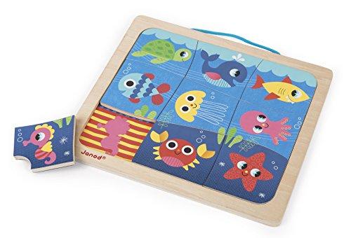 Janod - puzzle magnetico di legno 9 pezzi, l'allegro pesce, j08181