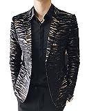 OUYE Herren Anzugjacke Gold Leopard Premium Sakko Blazer 4X-Large