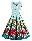 VERNASSA 1950s Abiti da Donna, 50s Vestito da Swing dell'abito di Sera di promenade del cotone del cotone di stile di Hepburn di stile classico,Multicolor,Formato S-4XL