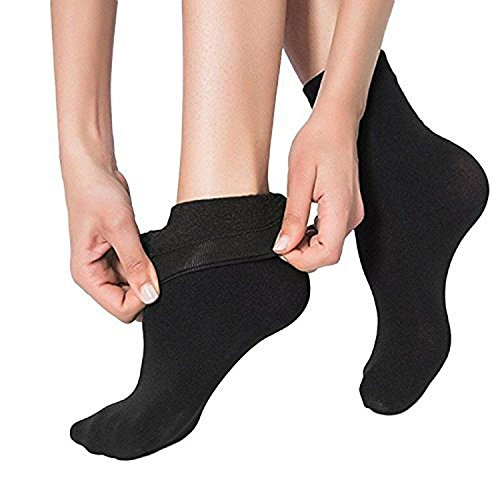 QUEERY Women's Cotton Fleece Lined Thermal Socks Without Thumb (Black, Free Size)