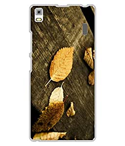 Snazzy Leaf Printed Yellow Hard Back Cover For Lenovo A7000/K3 Note