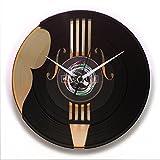 discoclock Horloge en vinyle/Vinyl record vintage clock?Horloge murale/horloge murale/horloge/Idée cadeau réalisé avec vrais disques en vinyle à thème Contrebasse/Musique/Instruments de Musique?Modèle?: dd070gb?The Bass Maker