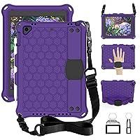iChicTec Case for iPad 9.7 2018 (6th gen)/2017 (5th gen)/iPad Air 2 /iPad Air/iPad Pro 9.7,Kids Shockproof EVA Protective Cover Case with Pencil Holder, Kickstand, Hand/Shoulder Strap (Purple)