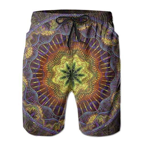 Pantalones Cortos de Playa para Hombre Green Leaf Mandala Bañadores 2XL