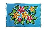 Original Yoga Sarong Pareo Wickelrock Strandtuch Rund ca 170cm x 1110cm Handtuch Schal Kleid Wickeltuch Wickelkleid Türkises Blumen Muster