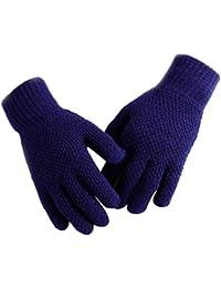 Demarkt 1 Paire Homme Gants Chauffants d'hiver Tricot Plein-Doigt Antidérapant Gants à écran Tactile avec pour Unisexe Ski Vélo Equitation Sports Coupe-vent Gloves Bleu