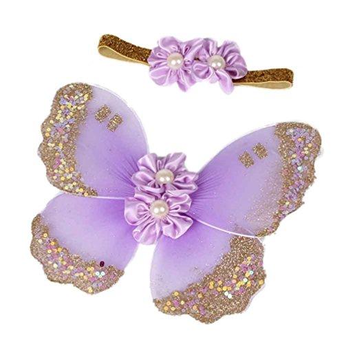 Ouneed® Neugeborene Baby Mädchen Schmetterling Flügel Kostüm Foto Fotografie Stütze Outfits (Helles (Schmetterling Kostüme Lila)
