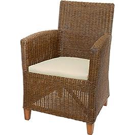korb.outlet Fauteuil lounge en rotin véritable – Confortable – Couleur marron vintage
