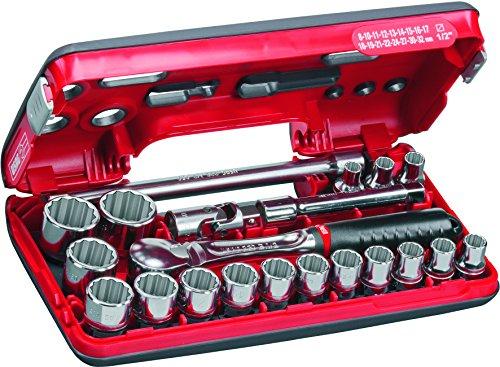 USAG u06090026 – Pack de 21 pièces Assortiment de clés de douilles polygonales en boîte de abs