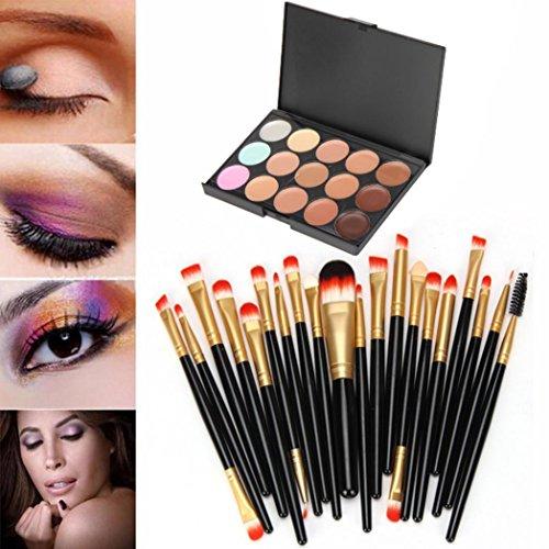 Pinceaux Maquillage, Ombre à paupières Brosse Définit | 15 pcs/lot |colors Contour visage crème Maquillage Correcteur Palette professionnel + Brosse 20