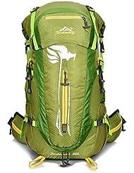 Hombres 50L profesionales mochilas de senderismo de deportes al aire libre que acampa impermeable Bolsas Mochilas Trekking hombros , green
