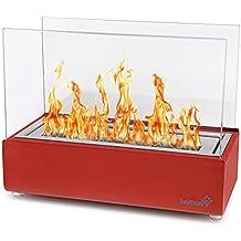 Ivation Vent less Compact–Caminetto da tavolo, rosso in acciaio INOX portatile bio etanolo caminetto per interni & esterni–include decorativo camino, Fuel canister & Flame Snuffer