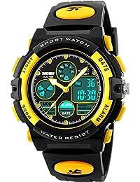 0e1391abf0d Affute Waterproof Sports Digital Analog Led Watch for Children Boys Girls  Kids Rubber Strap Yellow