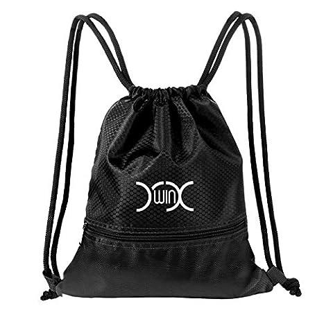 yxwin Kordelzug Tasche wasserdicht Sport Turnbeutel Schule PE Tasche Rucksack mit Taschen mit Reißverschluss für Erwachsene & Kinder Schwimmen Schuhe Basketball