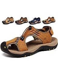 Lijeer Sandalias deportivas Verano los hombres al aire libre pescador playa zapatos casuales cuero transpirable no correas senderismo