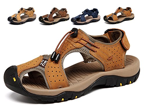Lijeer Sommer Neue Outdoor Herren Strand Schuhe Leder Casual Schuhe Korean Breathable Wxposed Toe Leder Sandalen Baotou Anti-Rutsch (Clogs Leichte Leder)
