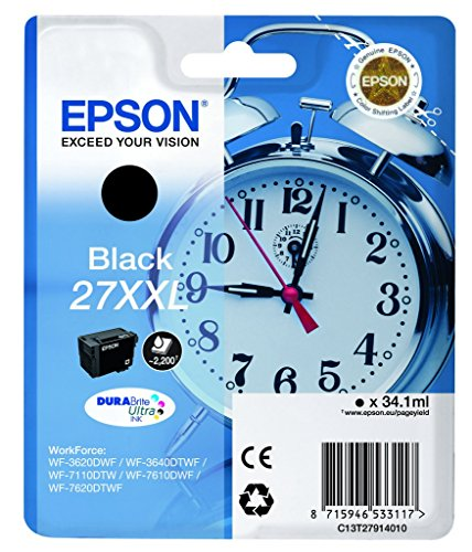 Epson 27 Serie Sveglia, Cartuccia Originale Getto d'Inchiostro DURABrite Ultra, Formato Xxl, Nero, con Amazon Dash Replenishment Ready