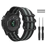 MoKo Armband für Garmin Fenix 3 / Fenix 5X Smartwatch, NATO Nylon Uhrenarmband Ersatzarmband Handgelenk Band Strap für Forerunner 235 Whr Laufuhr, Armbandlänge 135mm-200mm, Schwarz/Grau