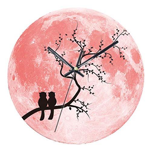 Rosa Wanduhr, 12-Zoll mit Nachtlichtfunktion, Vogel-Kaninchen-Muster-hölzerne dekorative runde Wanduhr für Wohnzimmer-Innenministerium by libertey
