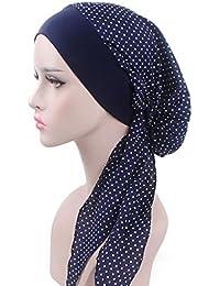 Lamdoo Turban foulard pré-noué pour chimiothérapie, rouge vin, Bleu motif  pois,… 6847388e3e1