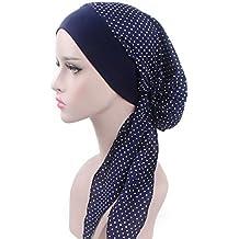Lamdoo Turban foulard pré-noué pour chimiothérapie, rouge vin, Bleu motif 9b7ea026e78