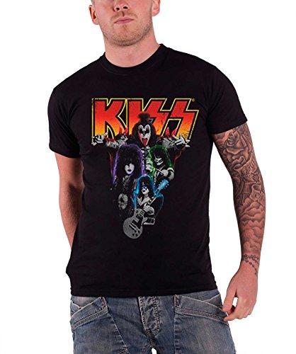 Kiss T Shirt Neon Band logo offiziell Herren Nue Schwarz