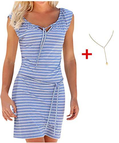 Damen Kleid Yesmile Ärmel Lose Gestreiften Locker Dress Beach Party Casual Kleid Sommer Täglich Casual Tank Kleid Mode Blusenkleid Langarm Verlieren Tunika Kurzarm T-Shirt Kleid (L, Blau-1)