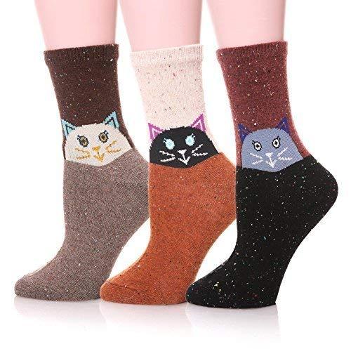 Katzen Womens Baumwolle (EBMORE Damen nette tierentwurf beiläufige art und weise weiche wolle baumwolle socken -, kostenlos katze)