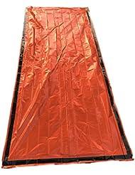 jolmo Lander de emergencia tienda de campaña supervivencia térmica de Mylar saco de dormir Escape tienda de campaña bolsa naranja Pack de 4