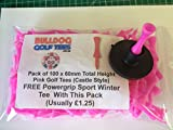 BARGAIN PACK of 100 BULLDOG GOLF TEES: Height 60mm PINK PLASTIC CASTLE TEES