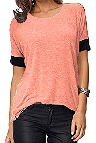 ELFIN Frauen Damen T-Shirt Rundhals Kurzarm Ladies Sommer Casual Oberteil Locker Bluse Tops - Weiches Material - Sehr Angenehm zu Tragen (SV6PO6JR) (L, Pink O-Neck)