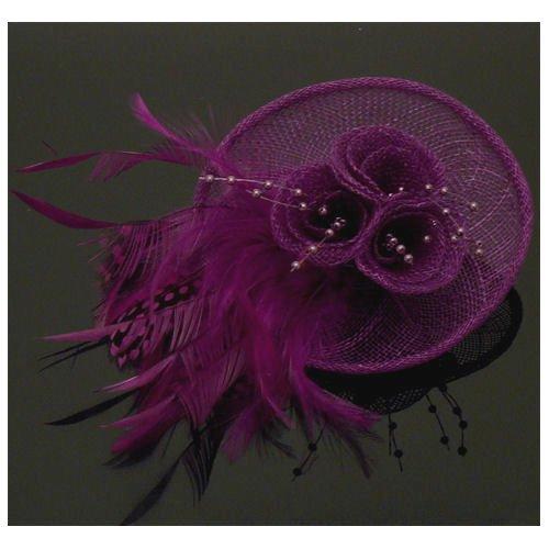Acosta-maille violet avec perles et plumes Motif Floral &Barrette Pince à Cheveux/Broche Clip