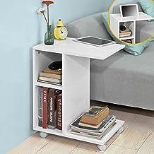 SoBuy® FBT48-W,ES Mesa auxiliar con 2 estantes, Consola,mesita de noche con ruedas para ipad, teléfono o lampara