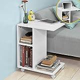 SoBuy® FBT48-W,ES Mesa auxiliar con 2 estantes, Consola,mesita de