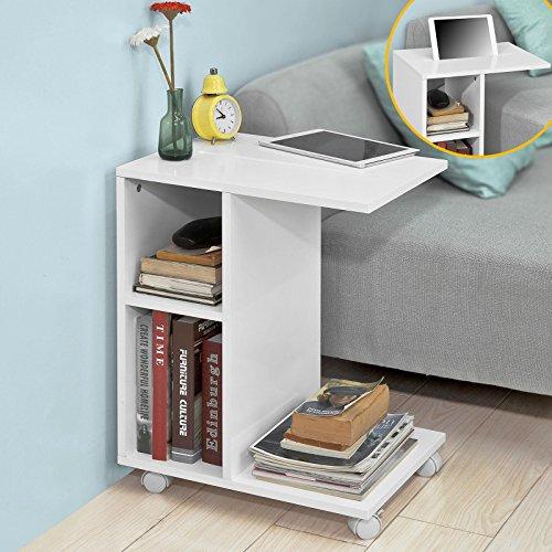 Mesa auxiliar con 2 estantes, Consola,mesita de noche con ruedas para ipad, teléfono o lampara