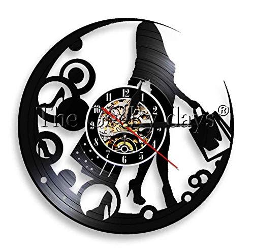 yang jingkai shopaholic lady wall clock girl young woman lady shopping bags orologio in vinile orologio da parete a led lampada da parete decor-no_led
