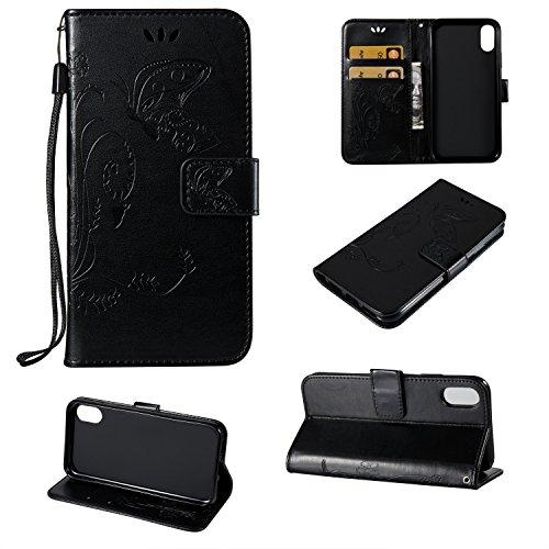 GR Flip Stand Schutzhülle mit innerer TPU Back Cover mit Lanyard & Kickstanfd Double Side Präge Blumen Blumen, PU Leder Brieftasche Tasche für iPhone X ( Color : Black ) Black