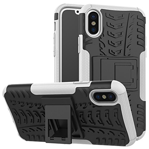 iPhone X Phone Coque DWaybox Hybrid Rugged Heavy Duty Armor Hard Back Housse Coque avec Kickstand pour Apple iPhone X 5.8 Inch (Hot PinK) White