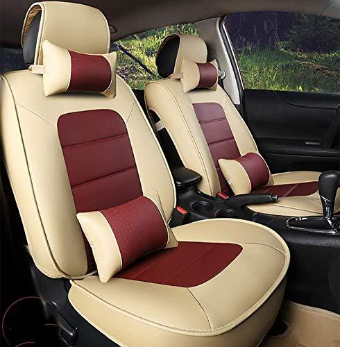 Yunchu PU Leder Autositzbezüge passen die meisten Limousinen SUV LKW for Hyundai Elantra Sonata Tucson Accent Mazda6 CX5 Auto sitzbezüge (Color : Beige+Red)